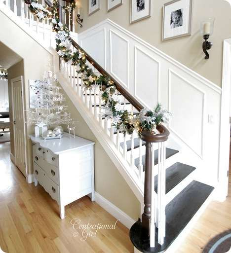This is exactly how our stairs our laid out in our home...now I need to convince hubby to rip off the carpet and go for this look instead. I LOVE everything about it...the dark and white contrast, the white wainscoting on the walls, the white spindles going down with the dark railing in top...everything!!!
