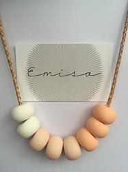 Leather Necklace // Graduated Peach - Emisa