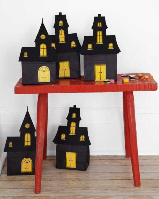 Haunted House Crafts How-To: Marthastewart, Black Bags, Treats Bags, Goodies Bags, Halloween Decoration, House Goodies, Haunted House, Martha Stewart, Clips Art