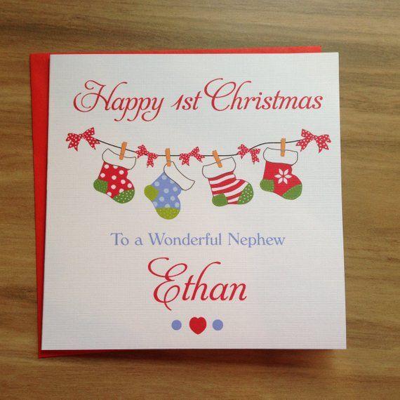 Personalised Handmade Baby Boys 1st First Christmas Card Son Grandson Nephew