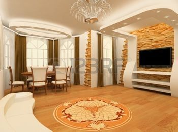 cielo raso: Decorative ornament with laminated flooring board and brick masonry in modern interior
