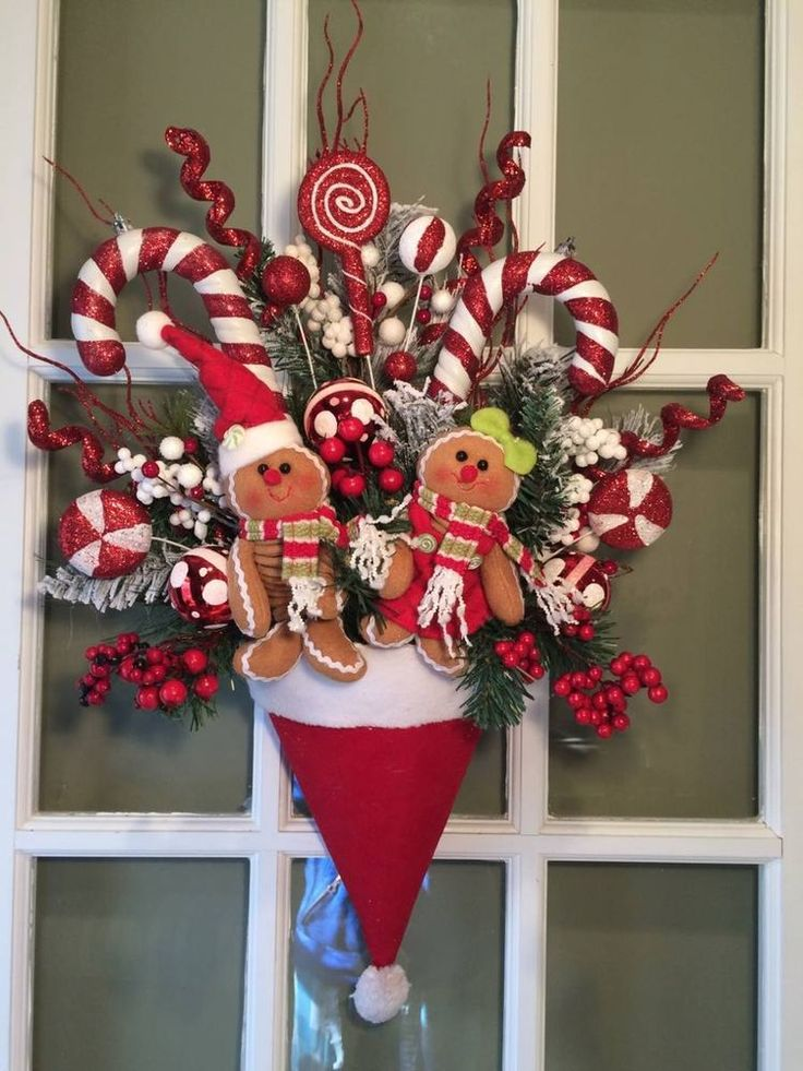 XMAS PLUSH GINGERBREAD SANTA HAT ARRANGEMENT/WREATH/SWAG DECOR FAKE CANDY CANE