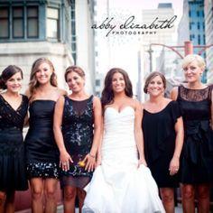 mismatched short black bridesmaids dresses