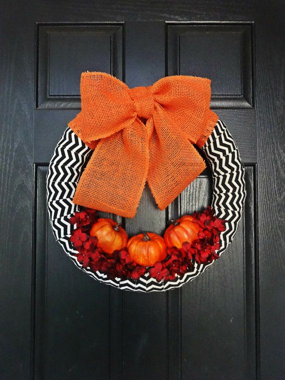 Orange and Black Pumpkin Wreath for Fall, Halloween Wreath, Thanksgiving Wreath, Orange Burlap Wreath, Fall Chevron Wreath
