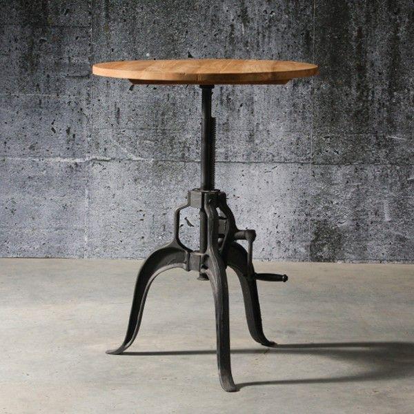 Table haute ajustable avec pied en fonte finition noir et plateau en teck naturel recyclé 09-Verin Teck