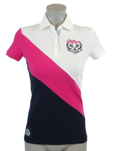 Tommy hilfiger slim fit womens logo polo shirt timeless for Woman s polo shirts