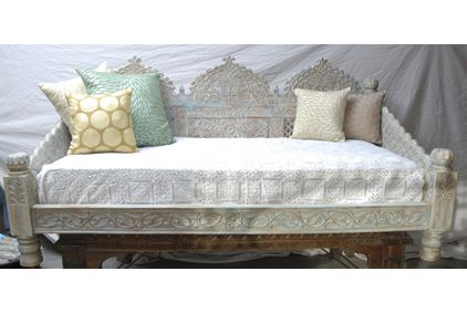 Carved Whitewashed Indian Day Bed Day Bed Mattress And