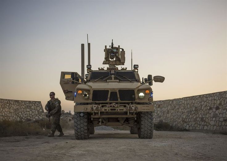 """Mine-resistant, ambush-protected vehicle during a patrol at Bagram Airfield, Afghanistan """