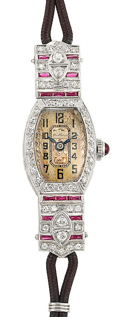 Platinum, Diamond & Synthetic Ruby Wristwatch. Art Deco or Art Deco style.