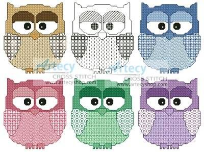 Artsy Owls cross stitch pattern.