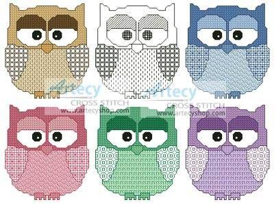 Artsy Owls cross stitch pattern.