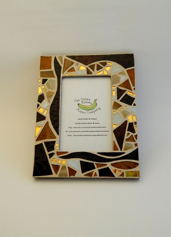 """Mosaic Picture Frame, 4"""" x 6"""" Picture Size, Shades of Brown + Gold Mirror, Handmade Stained Glass Mosaic Design by GreenBananaMosaicCo"""