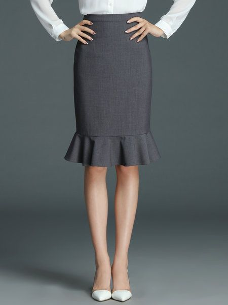 Shop Midi Skirts - Gray Polyester Sheath Work Midi Skirt online. Discover unique designers fashion at StyleWe.com.