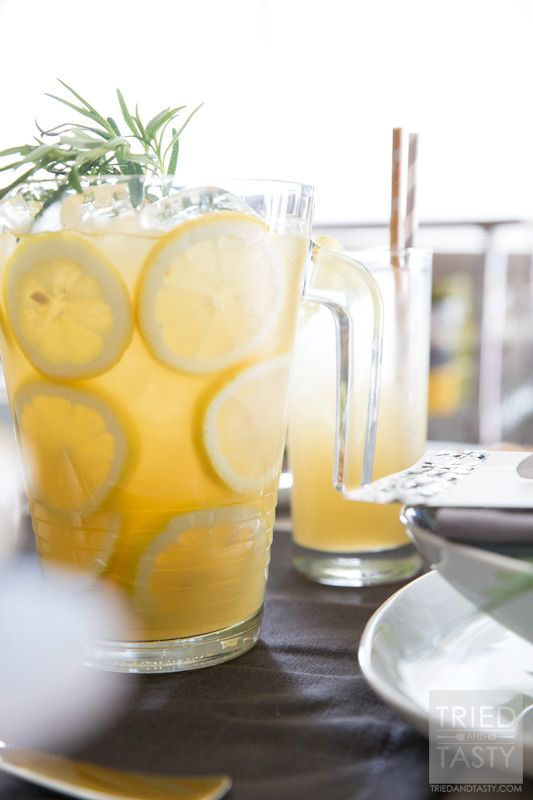 Vanilla Rosemary Lemonade // With no refined sugar added, you'll be pleasantly surprised by how perky this delicious lemonade is. Only five ingredients and you'll be set with the perfect beverage to entertain any of your guests of all ages! | Tried and Tasty http://triedandtasty.com/vanilla-rosemary-lemonade/