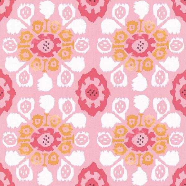 330236 Pink Ikat Floral - Valencia - Eijffinger Wallpaper