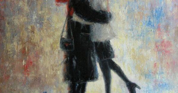 Kiss After Work Art Print, lovers in rain wall art, kissing in the rain paintings, couples kissing red umbrella wall decor Vickie Wade   Kiss, Rain and Art Pri…