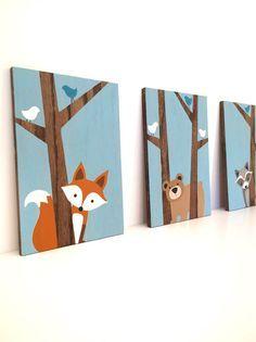 Woodland pépinière Art - Fox Decor - forêt amis pépinière - Woodland animaux pépinière - pépinière Wall Art - bois panneaux - créatures de la forêt