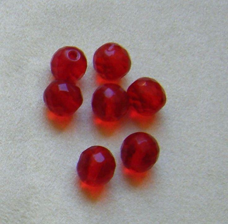 lotto 20 perline in mezzo cristallo rosso da 10 mm.