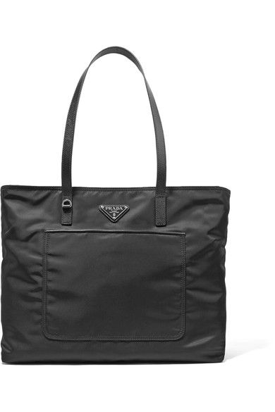 Prada - Vela Leather-trimmed Shell Tote - Black - one size