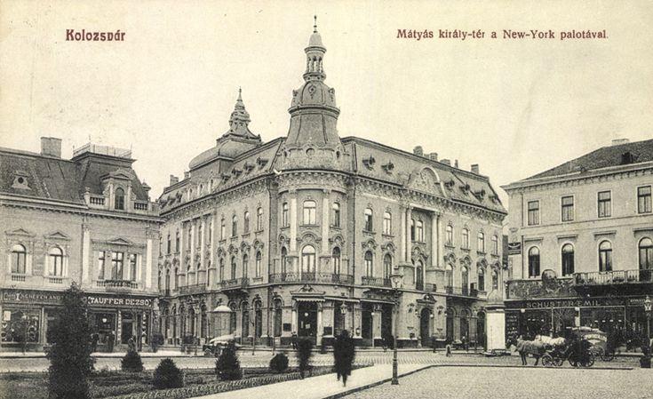 Kolozsvár. Mátyás király tér a New York palotával.  Postázás dátuma: 1910.11.25