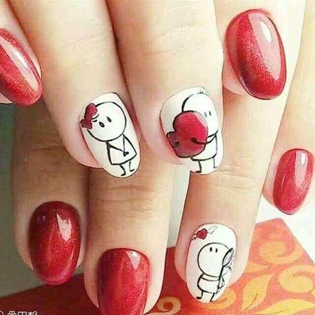 uas decoradas en color rojo decoracin de uas manicura y nail art