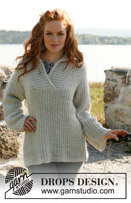 """Free pattern, I'm knitting this now. $0.00 Knitted DROPS jumper for women with shawl collar in """"Alpaca"""" and """"Kid-Silk"""". Size: S to XXXL. ~ DROPS Design"""