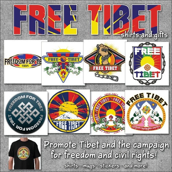 Free Tibet is a campaign to end the Chinese occupation of Tibet and restore basic human rights to the Tibetan people. http://www.zazzle.com/buddhagifts/gifts?cg=196500905821248600&rf=238995336435856180&CMPN=zBookmarklet Original and unique Free Tibet designs exclusive to the Buddha Gifts shop. Creative designs on shirts, mugs, stickers, bags and more! Free Tibet!