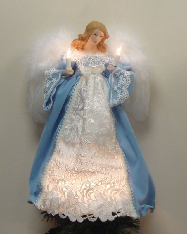 "elegant angel tree topper | 13.5"" Blue Cameo Elegant Lighted Porcelain Angel Christmas Tree Topper ...:"