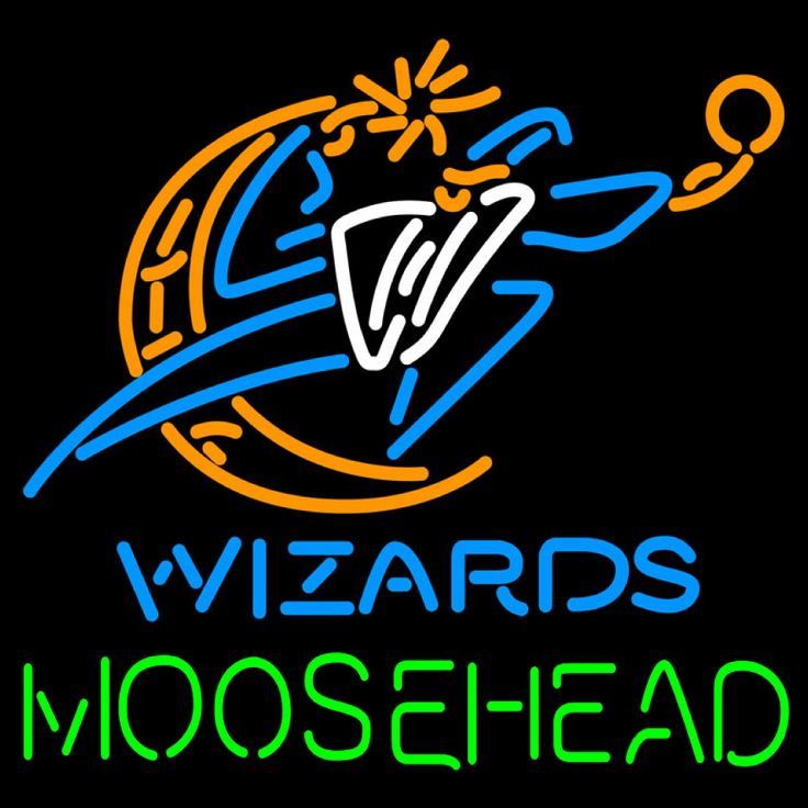 Moosehead Washington Wizards NBA Neon Beer Sign, Moosehead with NBA Neon Signs | Beer with Sports Signs. Makes a great gift. High impact, eye catching, real glass tube neon sign. In stock. Ships in 5 days or less. Brand New Indoor Neon Sign. Neon Tube thickness is 9MM. All Neon Signs have 1 year warranty and 0% breakage guarantee.