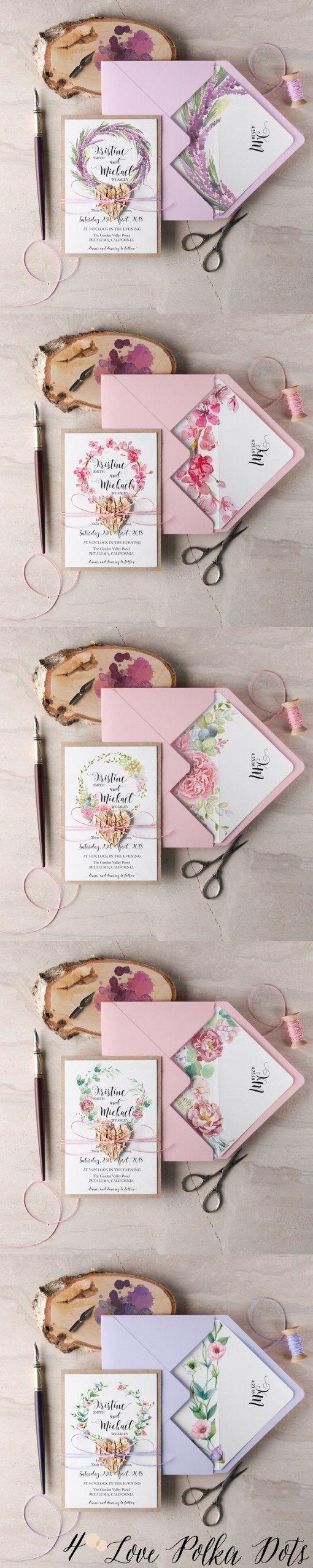 Pink watercolor wedding invitations #pinkwedding #floralwedding #lilacwedding