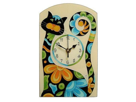 Happy Cat Wall Clock, Black Cat Silent  Children's Clock, Cat Home Decor, Kids Clock, Nurcery Decor, Animal Home Decor