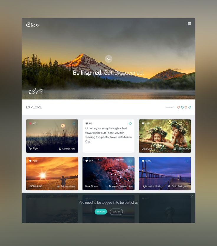 """Floks, After long time coming with some Refreshing UI , """"Click"""" a Photographer community where all can discover world , guys your suggestion always coming though to put my best efforts. check out real pixel for clear vision."""