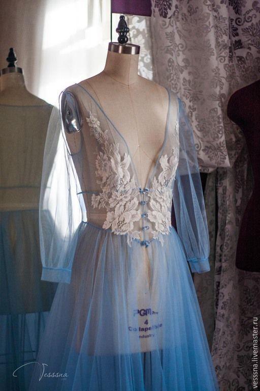 """Купить Будуарное платье """"Голубое"""" - свадебное платье, свадебное платье на заказ…"""