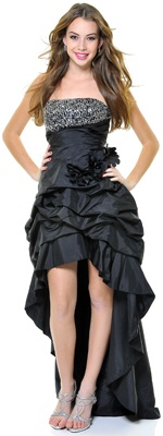 Black Strapless Starlet Taffeta Sequin Dress