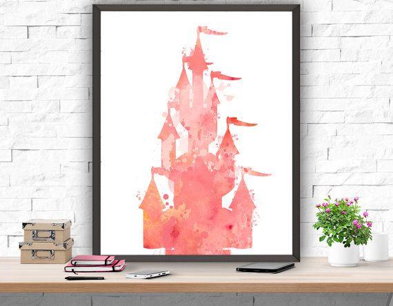 Château Disney impression aquarelle rose pépinière par ATArtDigital