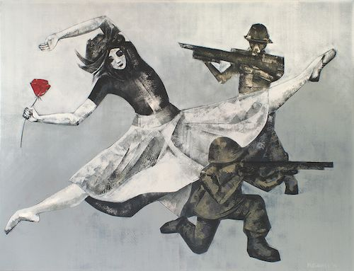 Marianna Katsoulidi, Dancing to the end of war, 2014, oil based paint and oil on canvas, 100 x 130 cm, Frissiras Museum (http://www.dlfineartsgallery.com/exhibit/%CE%BC%CE%B1%CF%81%CE%B9%CE%B1%CE%BD%CE%BD%CE%B1-%CE%BA%CE%B1%CF%84%CF%83%CE%BF%CF%85%CE%BB%CE%B9%CE%B4%CE%B7-marianna-katsoulidi/cQIyVXWubIaTJw)