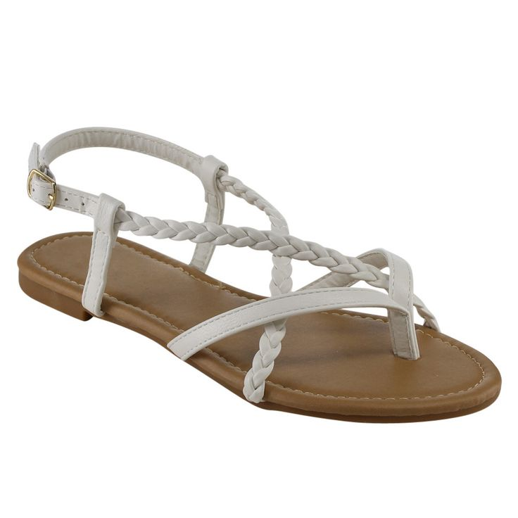 Upgrade your shoe collection with these Beston Strappy Flat Sandals. These strappy casual sandals feature a thong toe, a slingback adjustable ankle buckle, a slightly padded insole for comfort, slip o