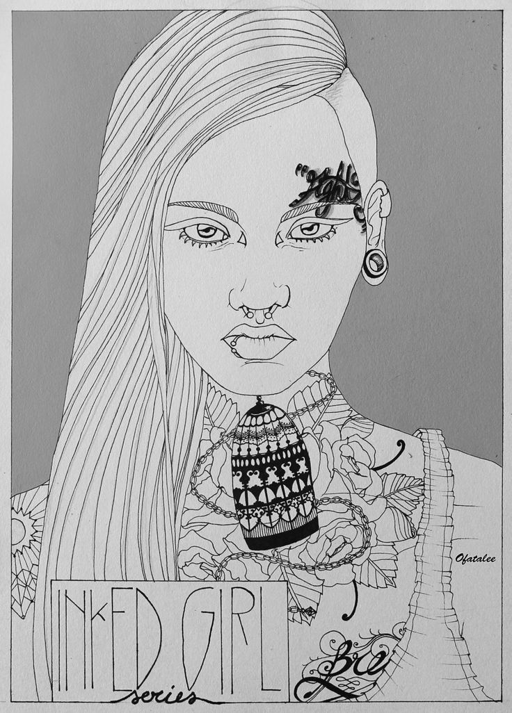 inked girl sketch book ink tattoo illustration poster wip