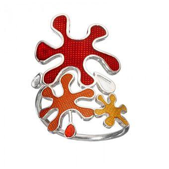 Handmade silver open splash ring 925o with red, orange and yellow enamel - Χειροποίητο ασημένιο ανοιχτό δαχτυλίδι πιτσίλες από ασήμι 925ο με κόκκινο,πορτοκαλί και κίτρινο σμάλτο