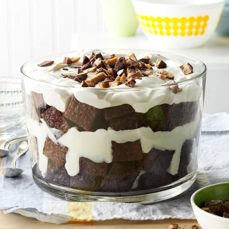 Toffee Brownie Trifle Recipe -This decadent combination of pantry items is a terrific way to dress up a brownie mix. Try this trifle with other flavors of pudding or substitute your favorite candy bar. It tastes great with low-fat and sugar-free products, too. —Wendy Bennett, Sioux Falls, South Dakota