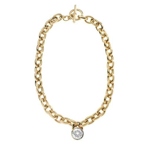 Michael Kors Chain-Link Padlock Necklace, Golden ($145) ❤ liked on Polyvore