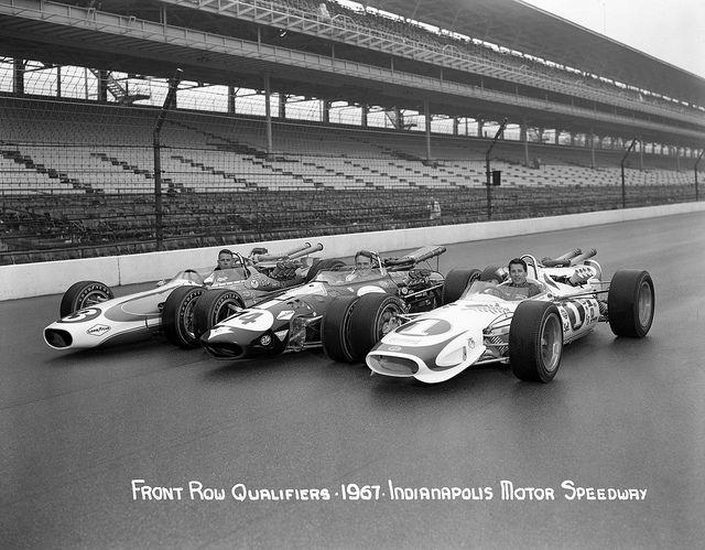 Front Row of the 1967 Indianapolis 500  Mario Andretti, Dan Gurney, and Gordon Johncock