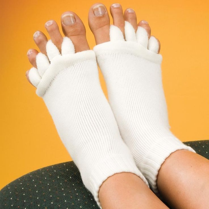 Foot Alignment Socks. These can be helpful after wearing high heels all day or even after surgery to keep a good alignment.