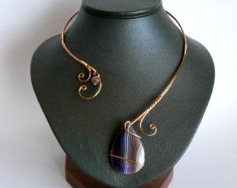 Koper ketting agaat ketting, Wire Wrapped kraag verklaring ketting, draad, ketting, unieke ketting, stijlvolle halsketting