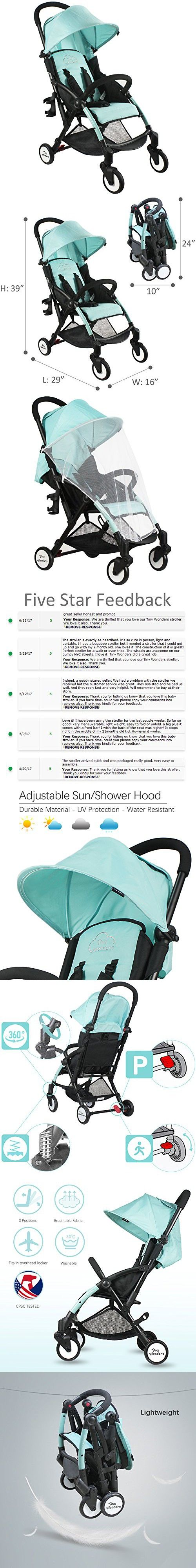 Green Deluxe Dual-Brake Single Baby Stroller, Portable Light Weight Travel Pram, Large Water Resistant Umbrella Canopy For Infant Toddler, Boys, Girls Unisex 3 Month, 1, 2 Year Old and UP