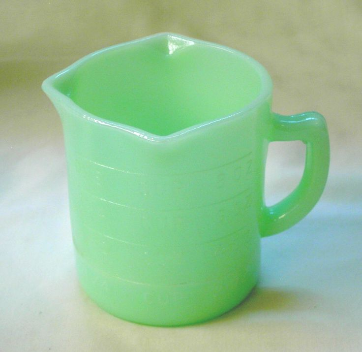 1 Cup Measuring Pitcher in Jade Green Color Glass by ClasseyGlass on Etsy https://www.etsy.com/listing/499676318/1-cup-measuring-pitcher-in-jade-green