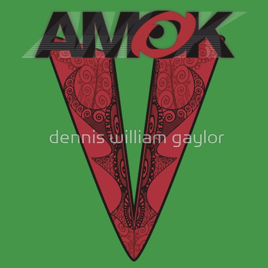 AMOK - tribal waves - run amok in aotearoa ..  T-Shirts & Hoodies by dennis william gaylor, custom illustrated posters, prints, tees. Unique bespoke designs by dennis william gaylor .:: watersoluble ::.