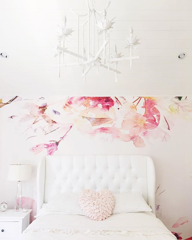 wall paper wayfair tufted headboard Rh teen Ikea horchow chandelier vaulted ceiling bedroom rugsusa anewalldecor