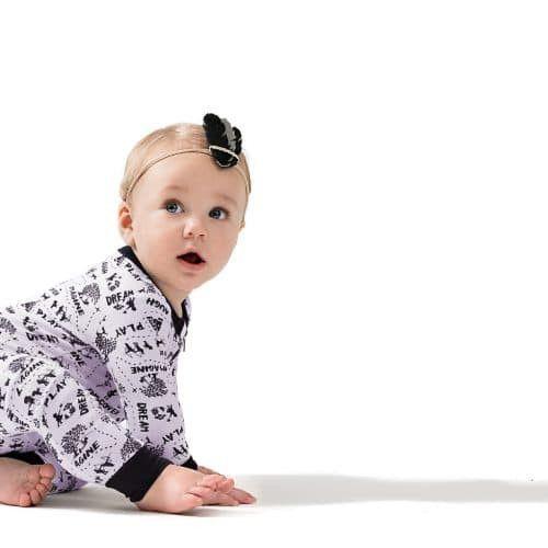 Aster & Oak Certified Organic Cotton Enchanted Monochrome Baby Zippy Romper | Little Greenie
