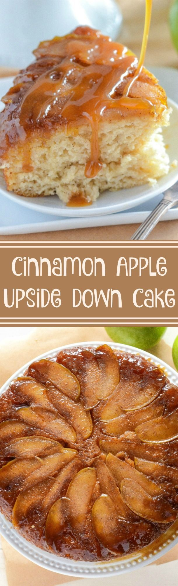 Upside Down Cake! Spiced brown sugar apples with a spiced sour cream ...